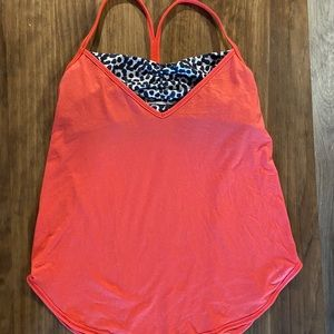 Lululemon Roll out tank - cheetah and orange
